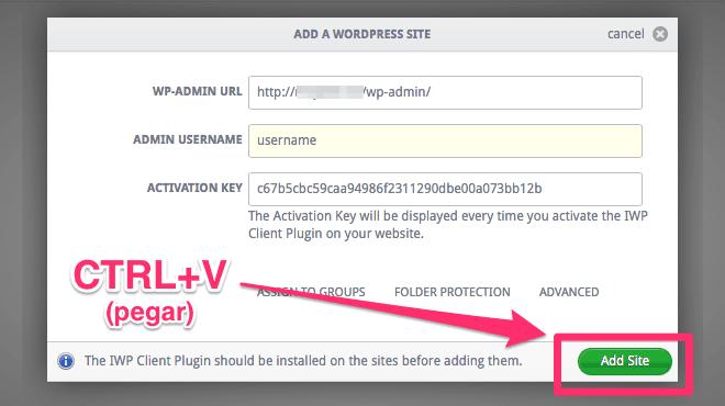 Agregar webs a InfiniteWP paso 4