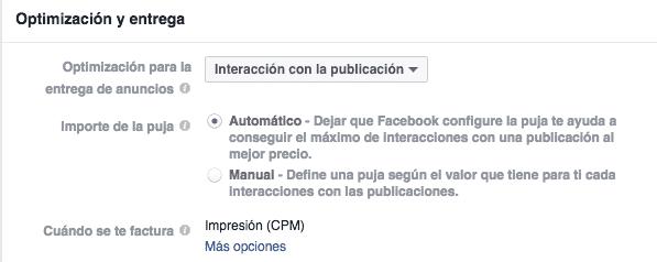Interacción y puja en Facebook Ads