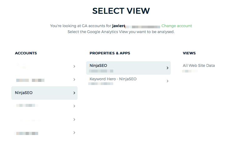 Conecta tu cuenta de Google Analytics con Keyword Hero