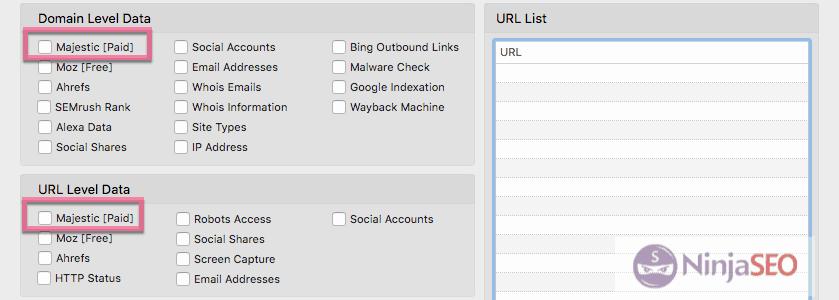 Cuenta de pago de Majestic con URL Profiler