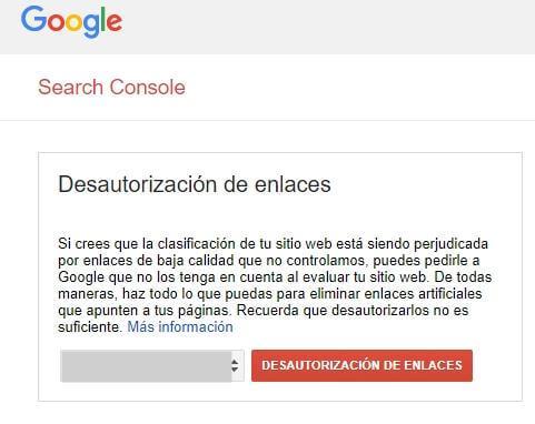 Desautorización de enlaces de Google