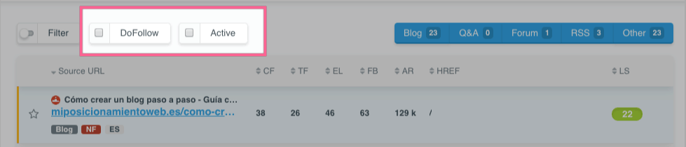 Filtrado de enlaces activos o follow en LinkMiner