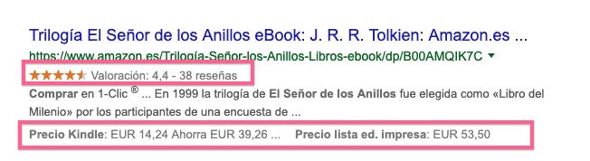 Resultados enriquecidos en búsquedas de libros