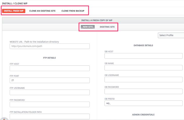 Install/Clone WordPress Addon