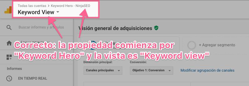 Keyword Hero crea una nueva propiedad en Analytics