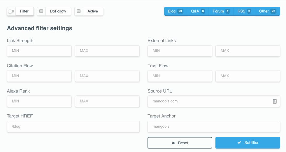 LinkMiner permite filtrar por métricas y características
