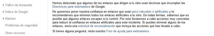 Notificación de Google sobre enlaces poco naturales o artificiales