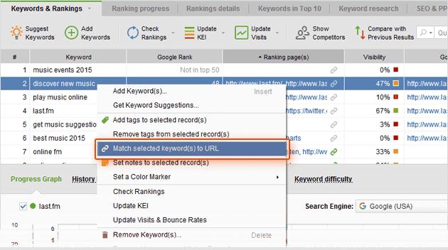 Empareja fácilmente tus Keywords con cada página con Rank Tracker