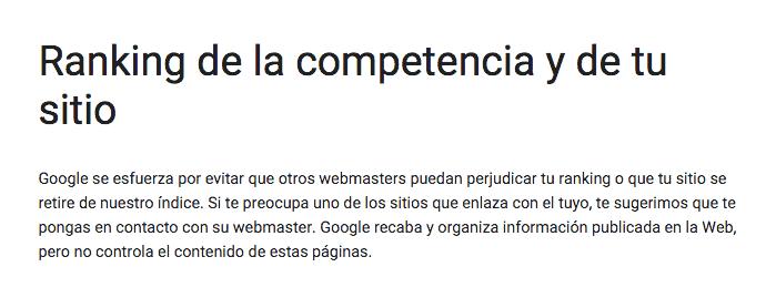 Documentación de Google sobre el Ranking de la Competencia y de tu sitio web