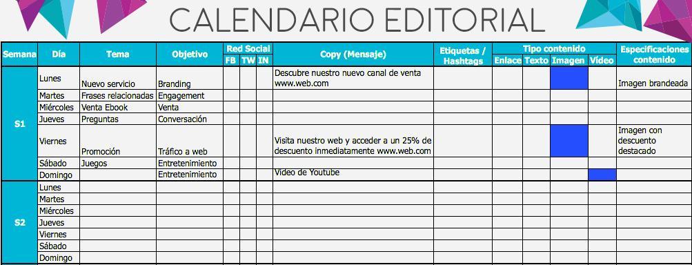 cómo escribir un blog - calendario editorial