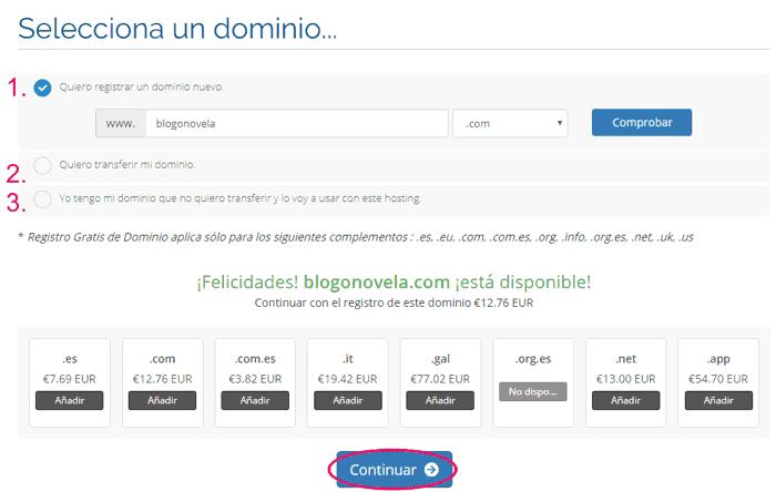 Comprar un dominio para el hosting