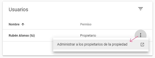 Configuración de los usuarios y permisos de la propiedad