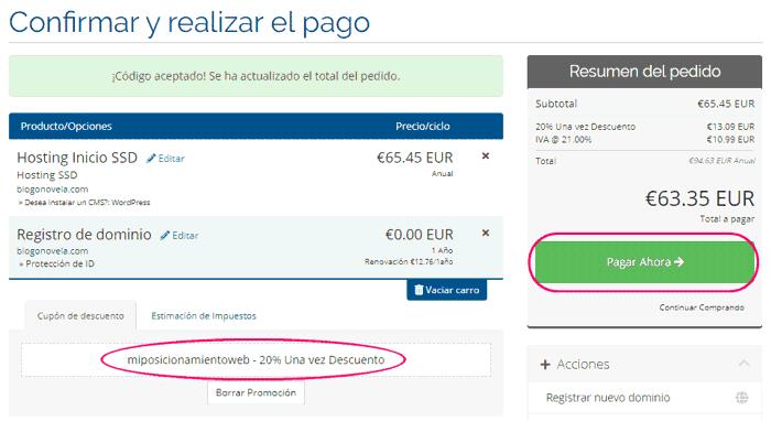 Confirmar la contratación del hosting