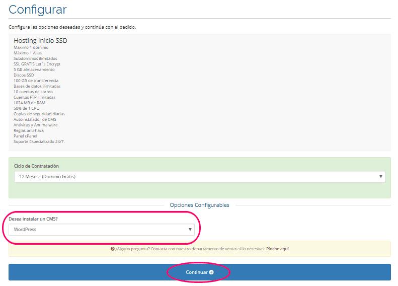 Contratar el hosting con WordPress