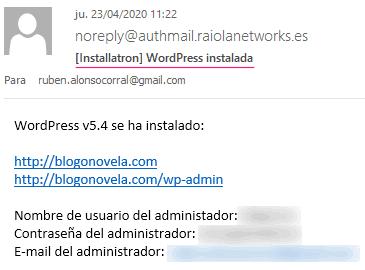 Datos de acceso al WordPress instalado por defecto