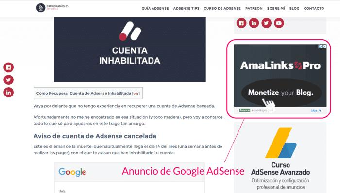 Ejemplo de que es Google AdSense