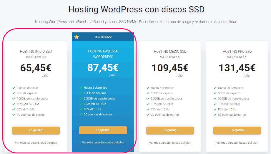 Elegir el plan de hosting para WordPress.org