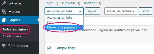 Eliminar las páginas de ejemplo