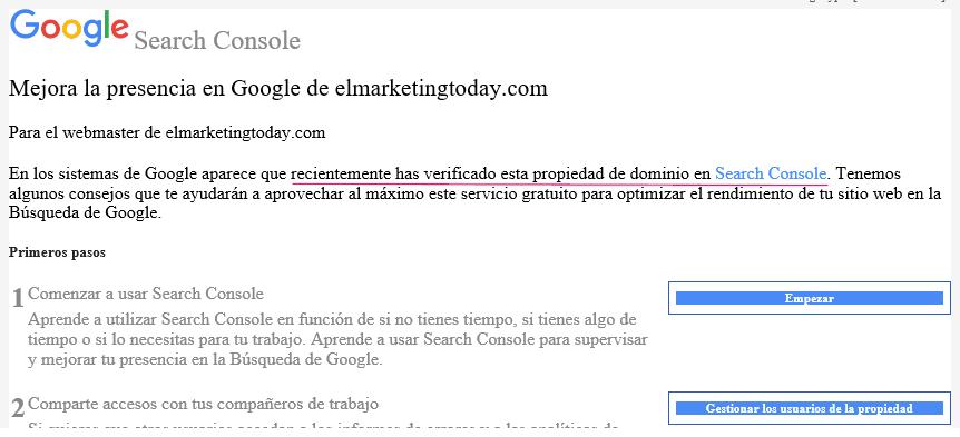 Email de propiedad verificada correctamente en Search Console