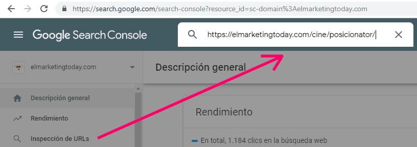 Inspección de URLs en Search Console