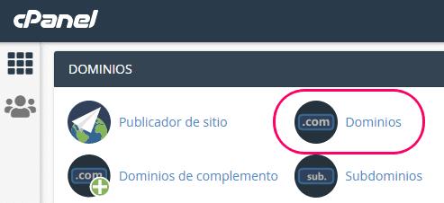 Menú Dominios del cPanel