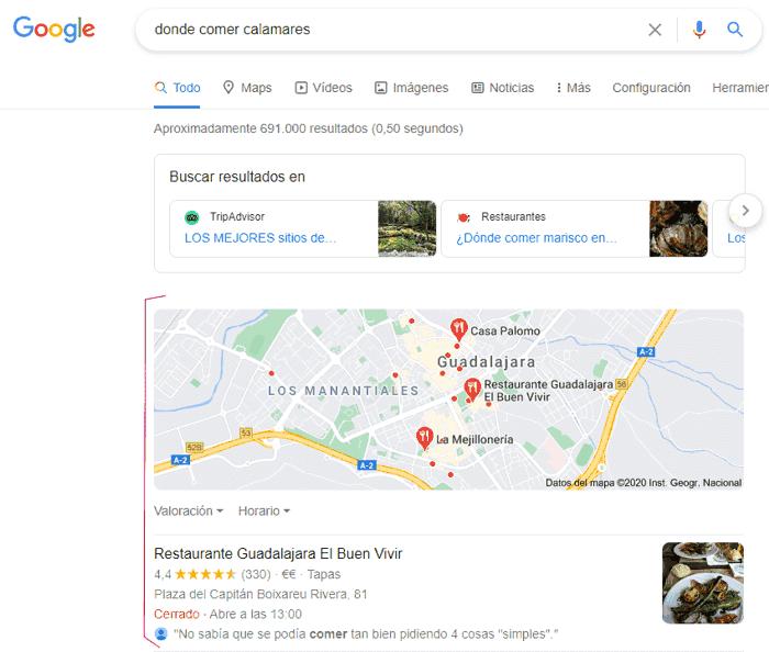 Resultado en Google para donde comer calamares