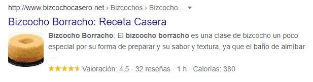 Resultado enriquecido de receta en los resultados de búsqueda