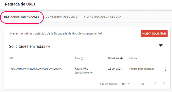 Retirada temporal de URL con Search Console