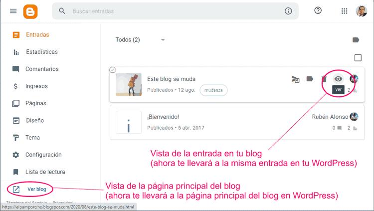Revisar redirecciones de URLs de Blogger