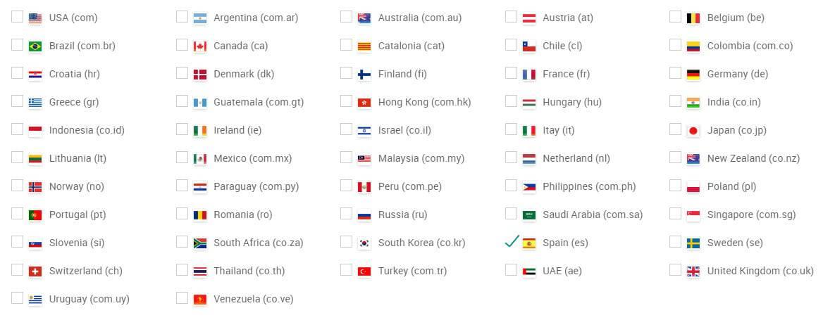 Monitoriza las posiciones de tus keywords en 52 países de Google