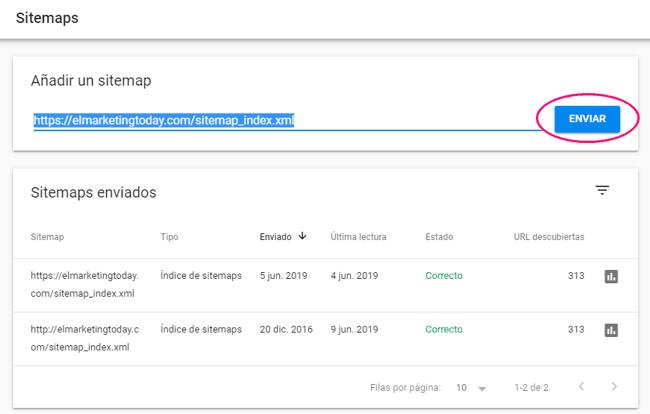 Sitemaps del sitio en Search Console