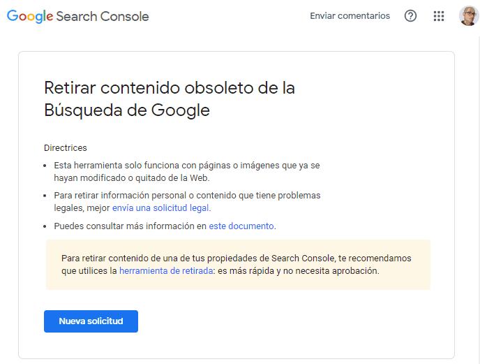 Solicitar la retirada de contenido obsoleto de la búsqueda de Google