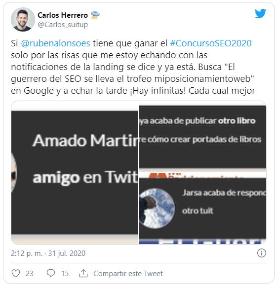 Tweet de Carlos Herrero sobre el concurso SEO