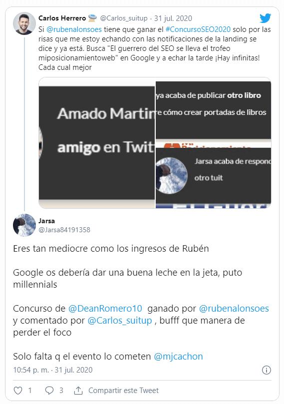 Tweet respuesta de Jarsa sobre concurso SEO