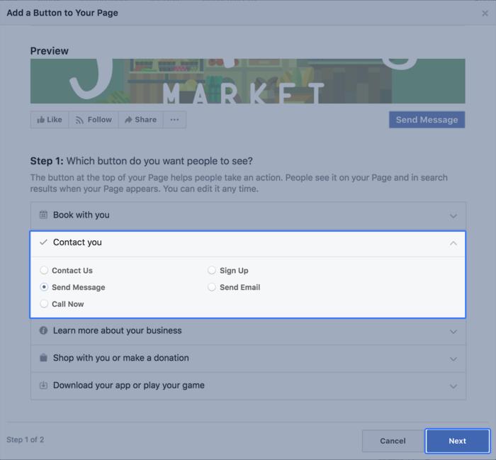 Tipos de páginas de Facebook de llamado a la acción