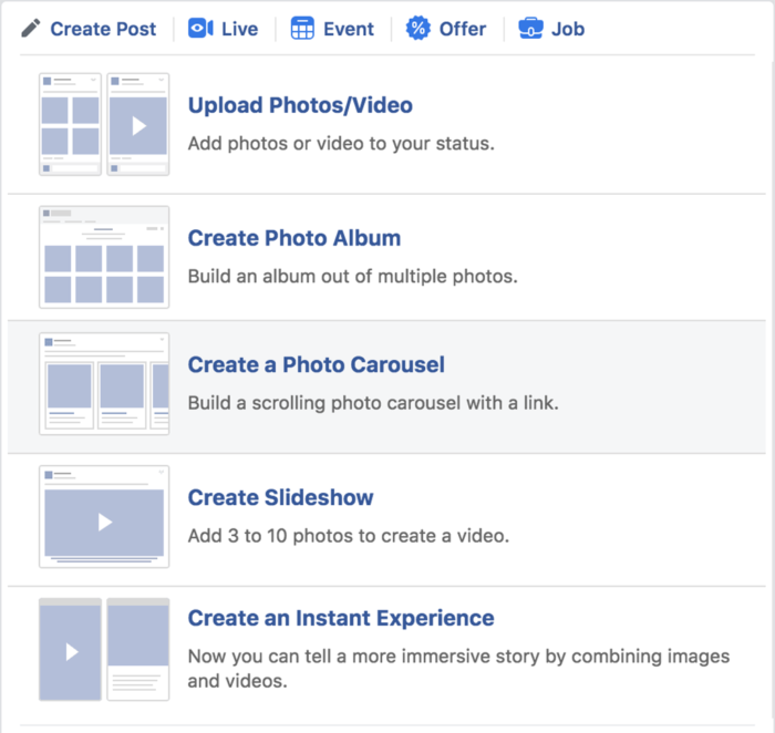 Fotos y videos de publicaciones en páginas de Facebook