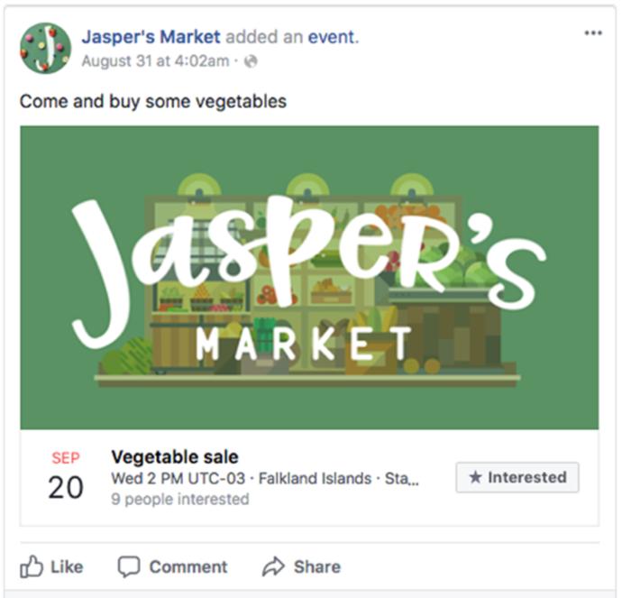 Actividad en la página de Facebook