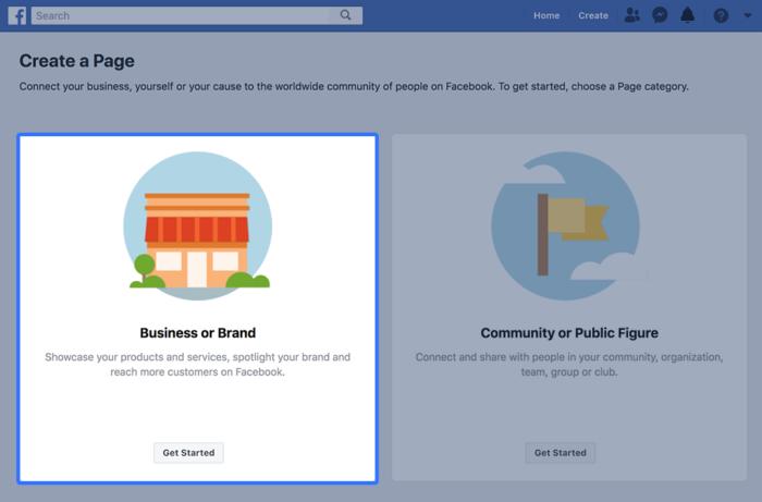 Tipo de empresa de Facebook