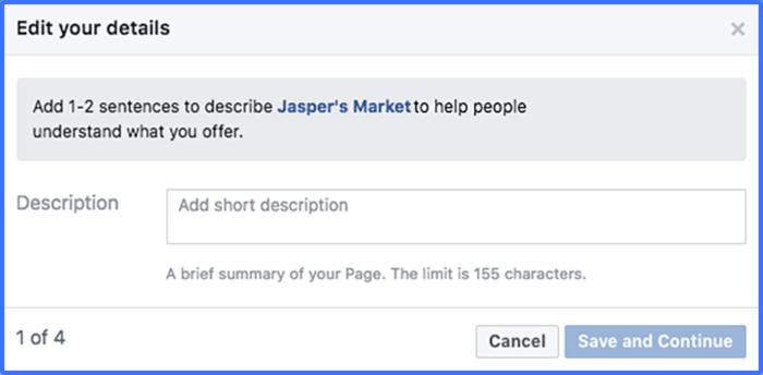 Agrega una descripción de la página de Facebook
