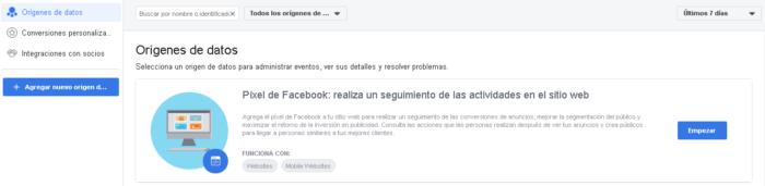 Agregar fuente de datos en Facebook