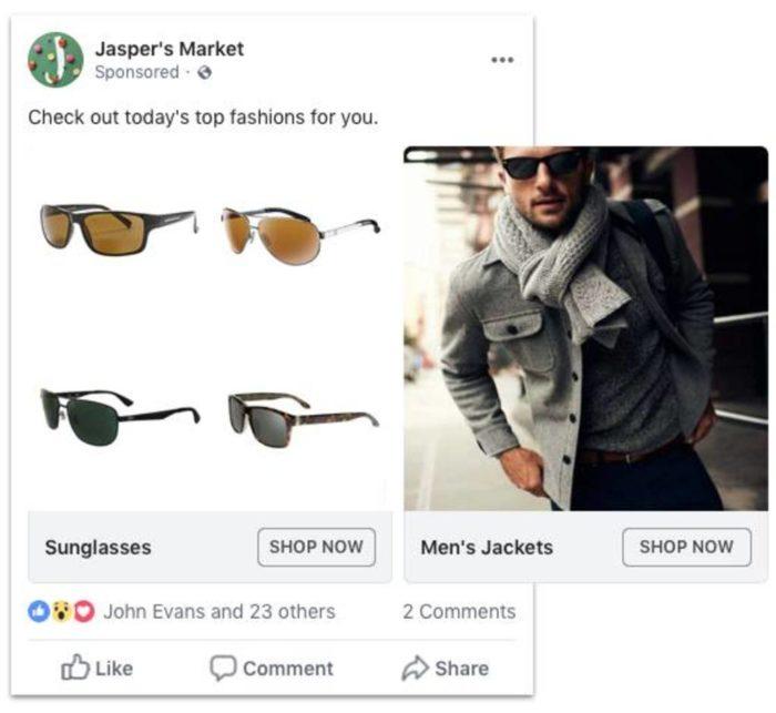Categorías de anuncios dinámicos de Facebook