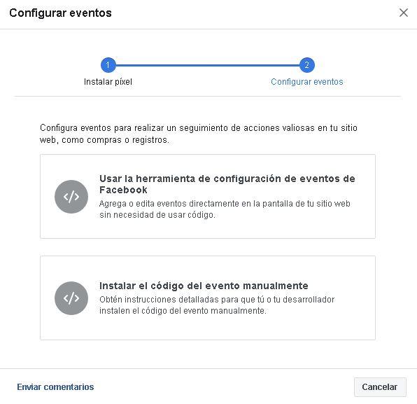 Configuración para eventos de píxeles de Facebook