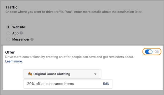 Convierta los anuncios de Facebook en ofertas