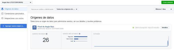 Estadísticas de eventos de píxeles de Facebook