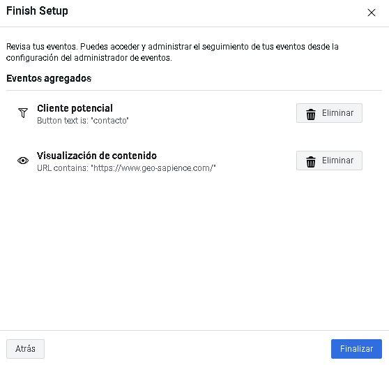 Complete la configuración para la operación de píxeles de Facebook