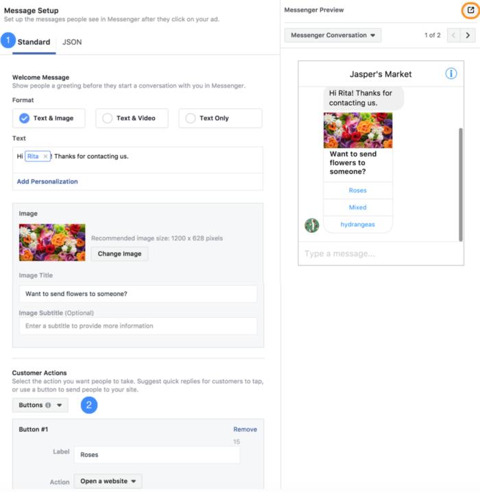 Método JSON de Facebook Messenger