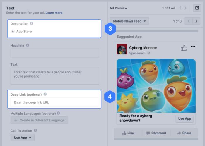 Opciones de enlace profundo para destinos de aplicaciones en Facebook