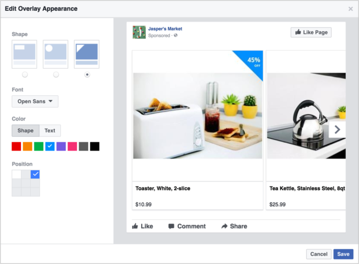 Superposición de texto dinámico para anuncios de Facebook