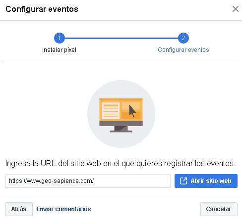 URL del sitio web que registró el evento de píxeles de Facebook