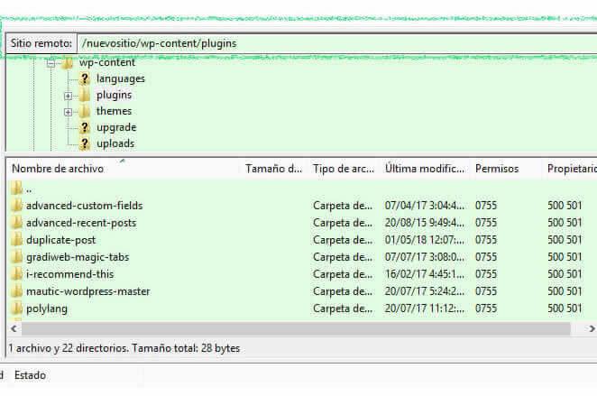 Complemento de carga FTP de WordPress